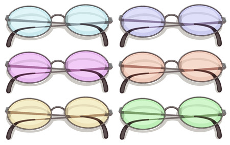 Illustration of many eyeglasses with different color lens Vector