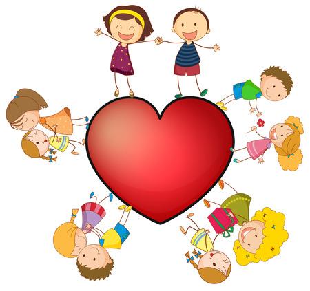 Illustration of children around a heart Vector