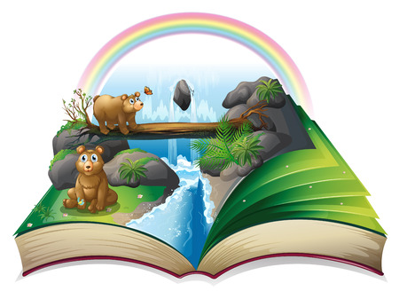 Illustration of a popup book of a waterfall Vector