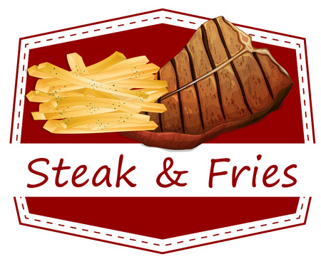 fried potatoes: Illustration of the steak and fries label on a white background