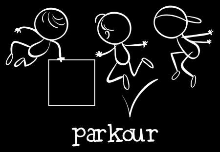 stickmen: Illustration of stickmen doing parkour