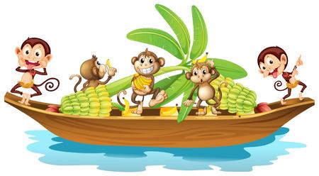 Illustration of many monkeys on a boat Illustration