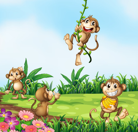 Illustration of monkeys playing in the field Vector