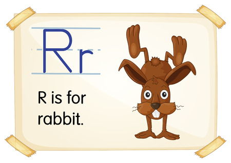 Illustration of a flashcard with letter R Vector