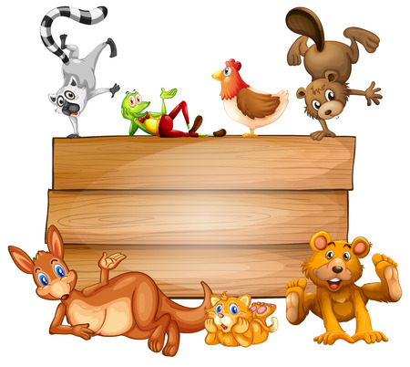 Illustration of many animals on a sign Vector
