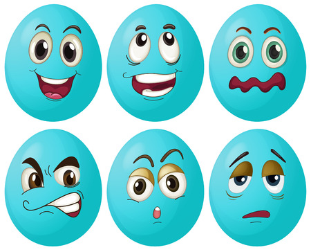Illustration of blue egg with expressions Vector