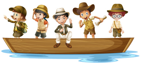 Illustration of girls and boys explorers on boat Stock Illustratie