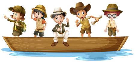 barco caricatura: Ilustraci�n de las ni�as y ni�os exploradores en el barco