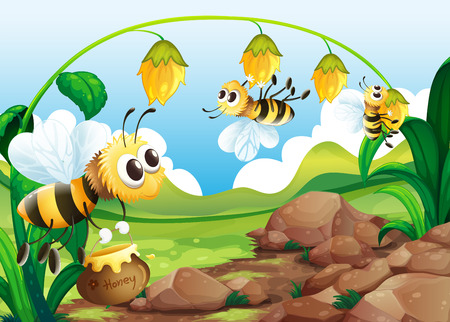 pollination: Illustration of bees and flowers Illustration