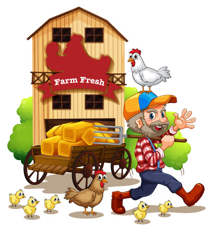 birds scenery: Illustration of a farmer and a barn Illustration