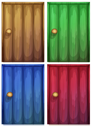 Illustration of the four colourful doors on a white background