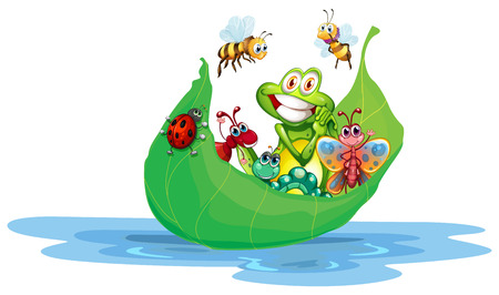 Illustration of many insects on a leaf Vector