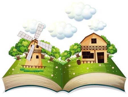 libro caricatura: Ilustración de un libro emergente de una granja