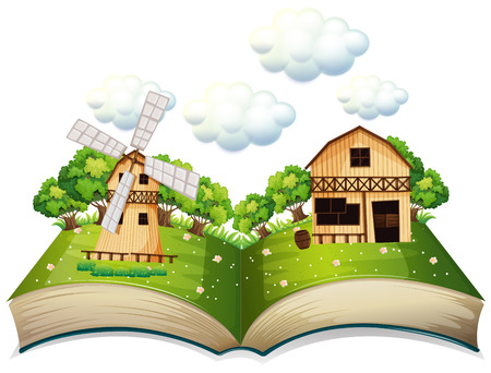 Illustration of a popup book of a farm Illustration