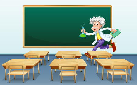Illustration of a scientist in front of a classroom Vector