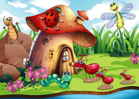 Illustration of many insects by the river Ilustração