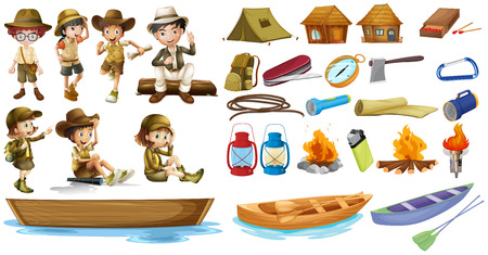 Illustration of the campers and the things used during camping on a white background