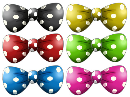 Illustration of different polka dot bow tie Vector