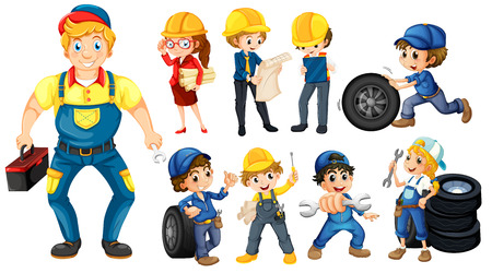 cartoon engineer: Illustration of different workers