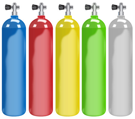 Illustration of five different colors tanks Vector