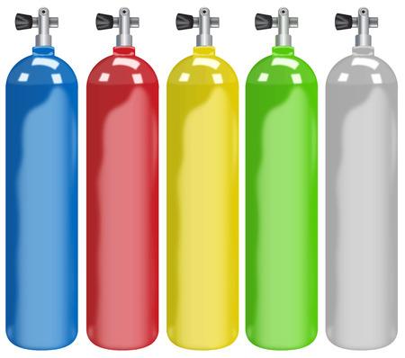 Ilustración de cinco tanques de colores diferentes