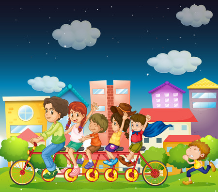 Illustration of a family riding bicycle Vector