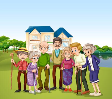 seniorenheim: Illustration der �lteren im Pflegeheim