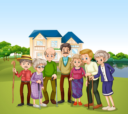 old home: Illustration of elderly at the nursing home