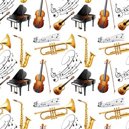 letras musicales: Ilustración de instrumentos sin costura Vectores