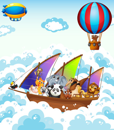 flying boat: Illustration of many animals on a boat