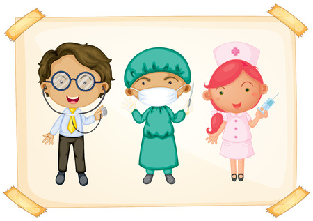 Illustration of three different occupations Vector