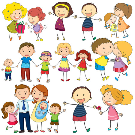 many people: Illustration of many posts of family