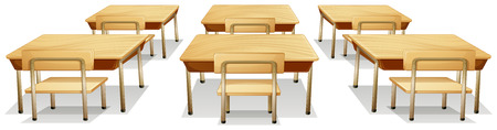 Illustration of tables and chairs Vector