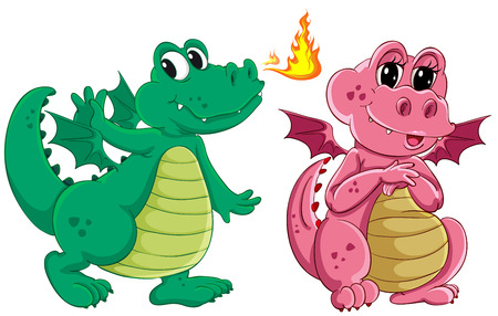 fantacy: Illustration of green and pink dragons