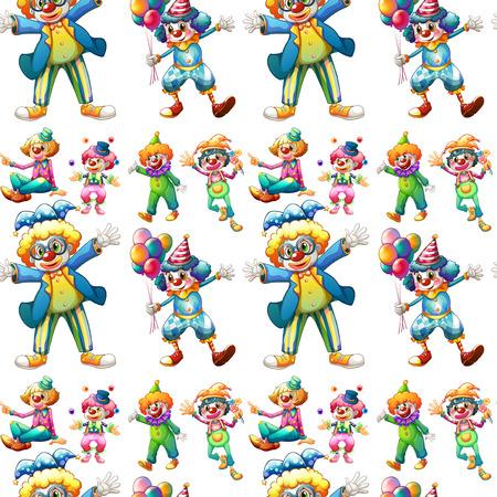 Illustration of seamless clowns Vector