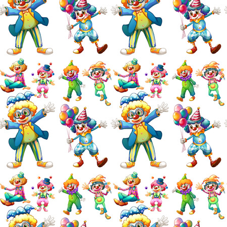 Illustration of seamless clowns