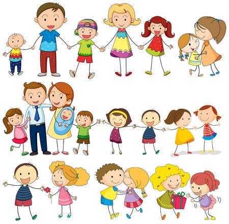 famiglia numerosa: Illustrazione di una famiglia felice e amorevole su uno sfondo bianco Vettoriali