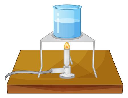 boil: Illustration of a beaker and a burner