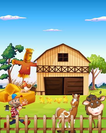 Illustration of a farm house and a farmer Vector