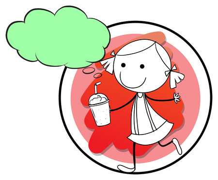 Illustration of a gril drinking Vector