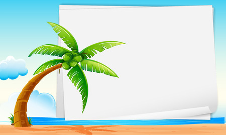 coconut tree: Illustration of a banner with a beach view Illustration