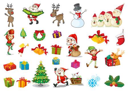 Illustration of a christmas set