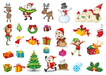 Illustration of a christmas set Vector