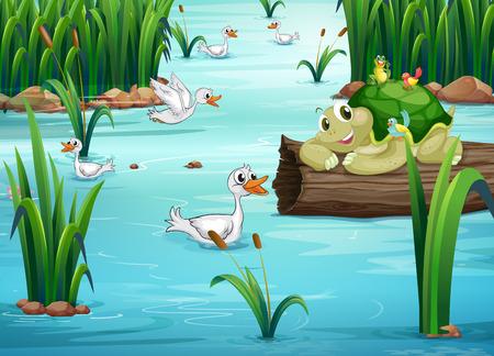 lirio acuatico: Ilustración de muchos animales en un estanque