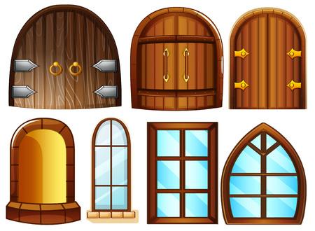 Illustratie van de verschillende ontwerpen van deuren en ramen Stock Illustratie