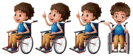 niños platicando: Ilustración de un niño sentado en una silla de ruedas Vectores
