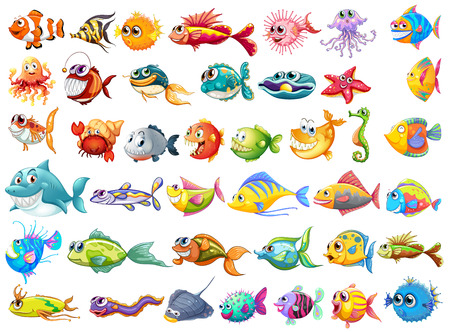 Illustration of may kinds of fish