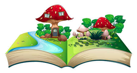 Illustration of a popup book with a mushroom house Vector