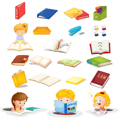 Illustration of the students and their school supplies on a white background Vector