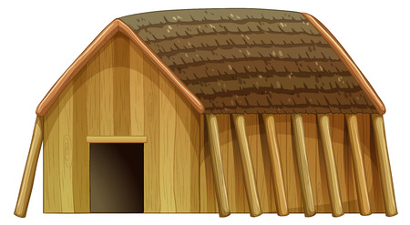 hideout: Illustration of a vikings shelter on a white background